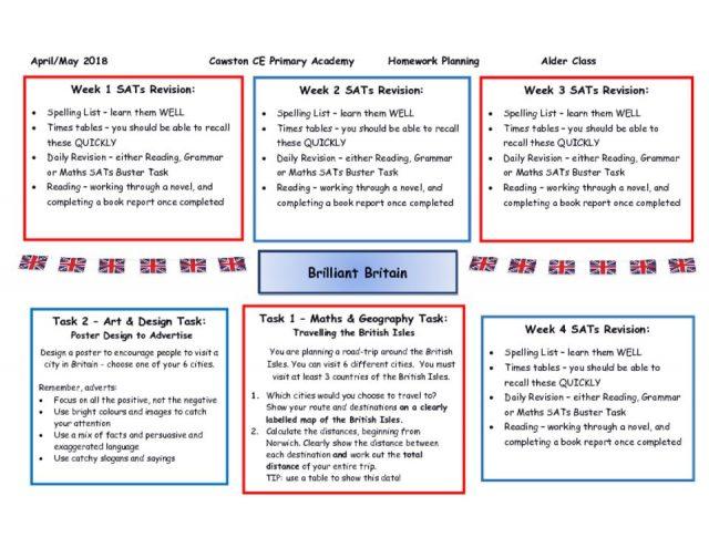 thumbnail of Alder Class Homework Web Term 3a – SATs Rev & Brill Britain