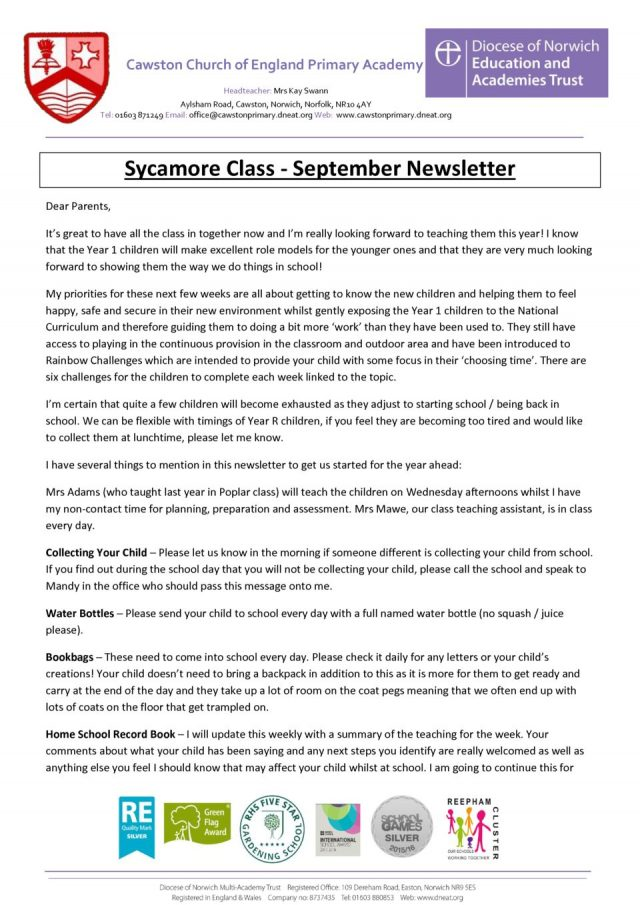 thumbnail of Sycamore Class Newsletter T1a