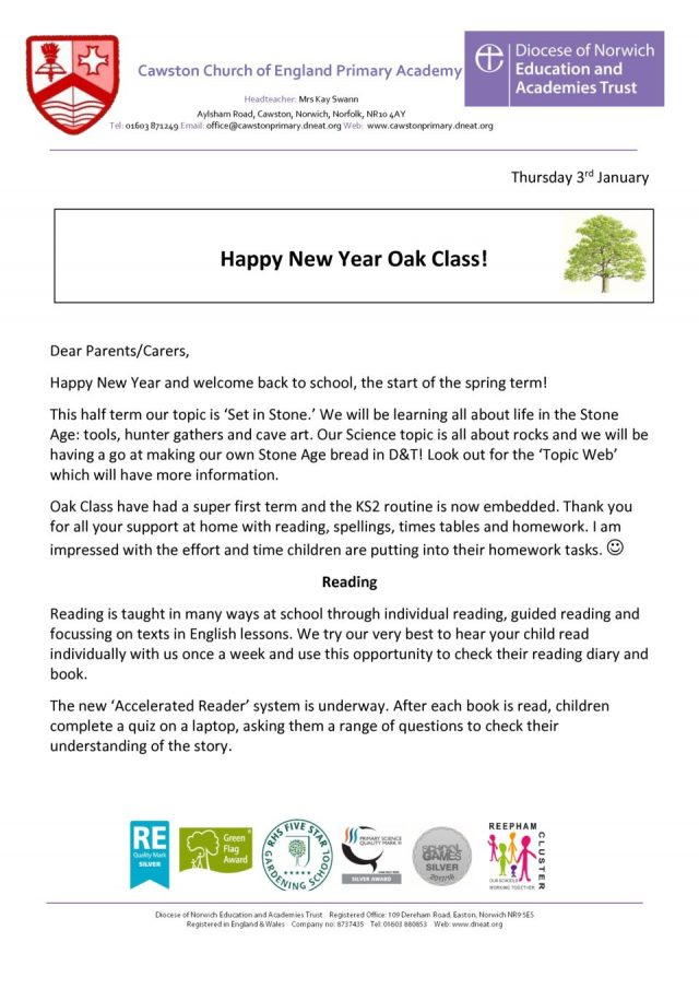 thumbnail of Oak Class Welcome Letter Term 2A