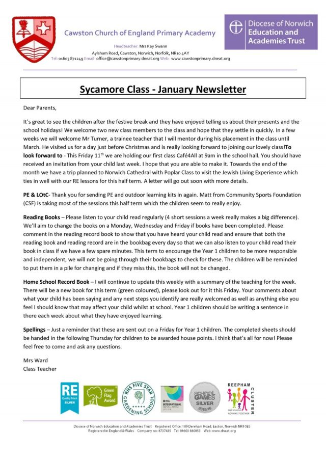 thumbnail of Sycamore Class Newsletter Term 2A