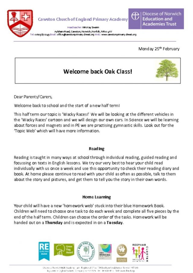thumbnail of Oak Class Letter 2b
