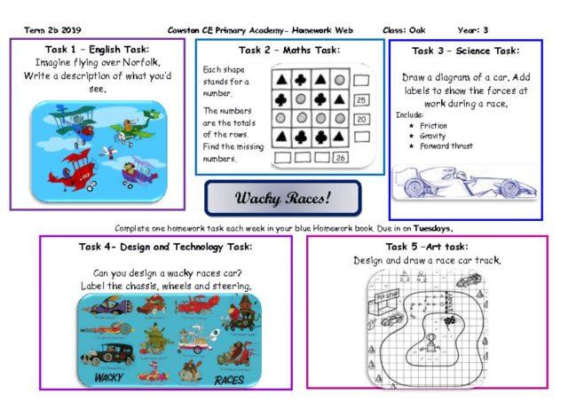 thumbnail of Oak Class Yr 3 Homework Web 2b