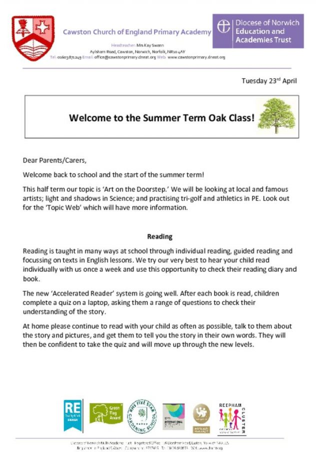thumbnail of Oak Welcome Letter Term 3a