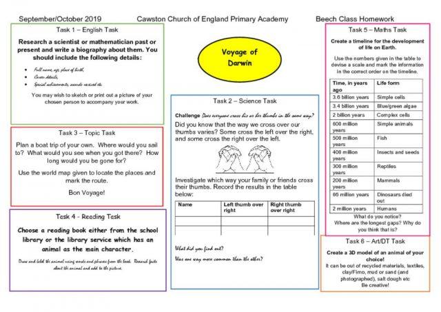 thumbnail of Beech Class Homework Web T1a Darwin